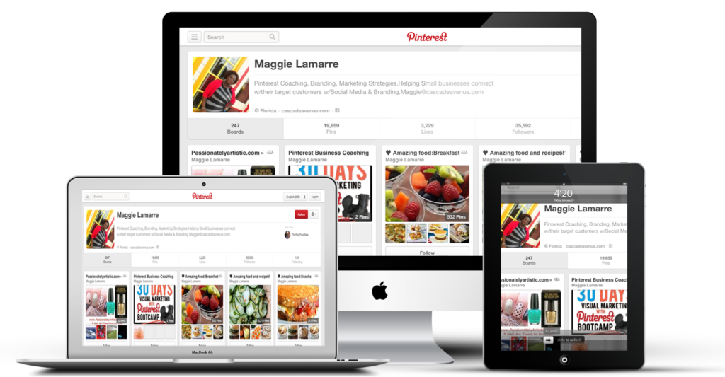 Pinterest coaching program on ipad, iphone, tablets