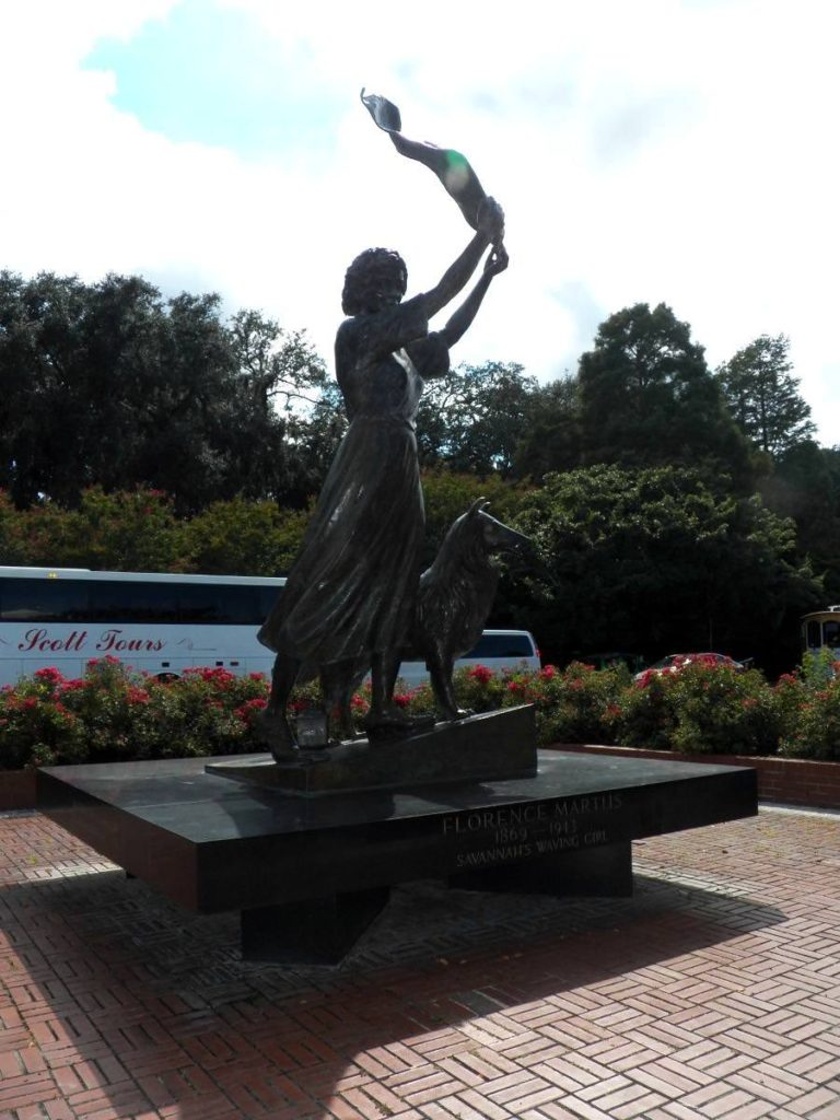 The waving girl, Florence Martus sculpture river st, Savannah GA, Historic District